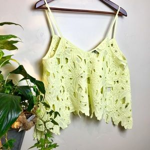 CHARLOTTE RUSSE New cropped tank top crochet style